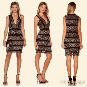 . Nightcap FP Moroccan lace deep V dress  gold Bxd